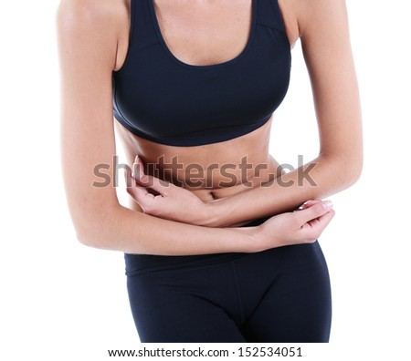 Abdominal pain isolated on white
