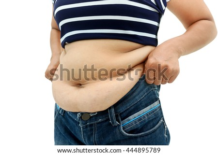 abdominal surface of fat woman on white background.