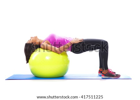 Abdominal workout with a fitness ball - stock photo