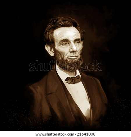 Abe Lincoln painting - stock photo