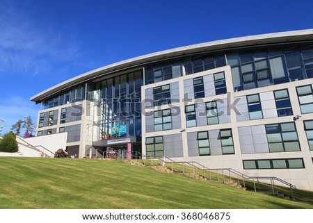 ABERDEEN SCOTLAND - 21 DECEMBER 2015 The Robert Gordon University (RGU) in Aberdeen time lapse footage. RGU is one of  the UK's top Universities in oil and gas industry. - stock photo