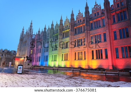 ABERDEEN SCOTLAND -14 FEBUARY 2016 : Marischal College view in the evening. Marischal college became Aberdeen City Council headquarters in 2011. - stock photo