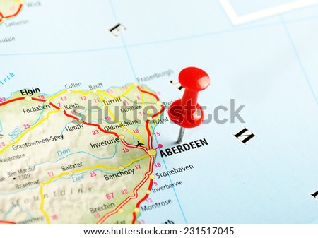 Aberdeen  Scotland  ,United Kingdom  map  and  pin - Travel concept - stock photo