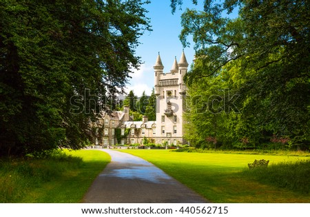 Aberdeenshire, Scotland - July 27, 2012: The Balmoral castle, summer residence of the British Royal Family.
