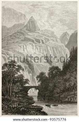 Aberglaslyn bridge old view, Wales. Created by Grandsire after Erny, published on Le Tour du Monde, Paris, 1867 - stock photo