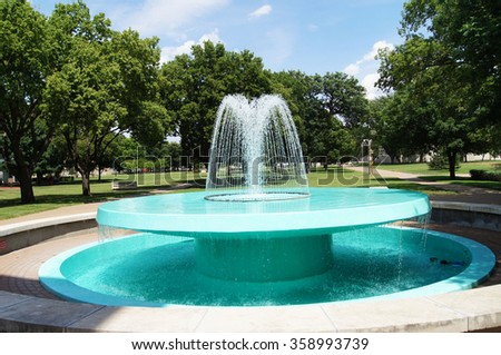 ABILENE, KANSAS/USA -JUNE 30, 2015: Eisenhower Fountain. The Presidential Library and Museum of Dwight David Eisenhower, the 34th President of the United States (1953-1961), features this fountain.