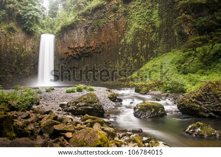 Abiqua Falls, a waterfall in the rain forests of Oregon - stock photo