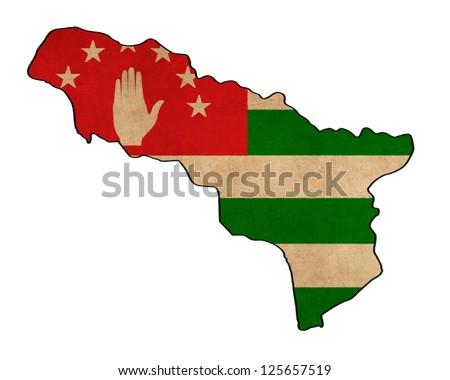 Abkhasia map on Abkhasia flag drawing ,grunge and retro flag series - stock photo