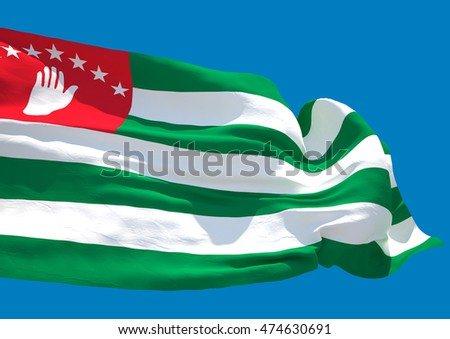 Abkhazia wave flag. Republic of Abkhazia (3D render)