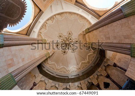 Ablution entrance. Interior of the Hassan II Mosque - ceiling. Morocco. Casablanca. - stock photo