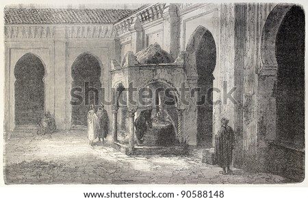 Ablution fountain in Grand Mosquee courtyard, Algiers. Created by Gaildrau, published on L'Illustration, Journal Universel, Paris, 1858 - stock photo