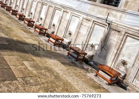 Ablution taps at a mosque in Istanbul where worshipers wash their feet.