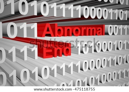 abnormal end in the form of binary code, 3D illustration