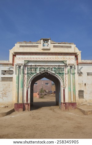 Abohar, Punjab, India. February 11th 2015  Traditional decorative gateway in a Bishnoi village in rural Punjab close to the border with Pakistan.