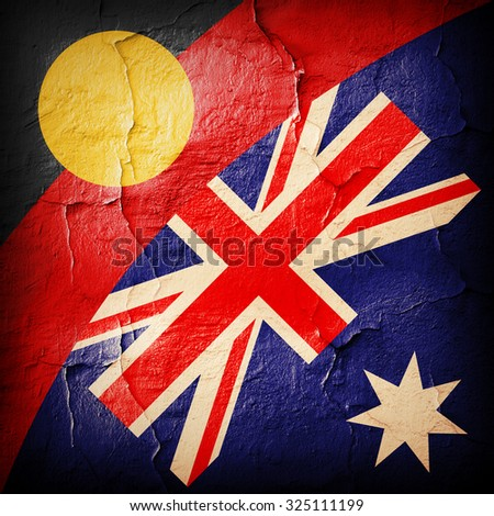 Aboriginal Australia flags and  wall background