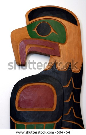 Aboriginal eagle carving - stock photo