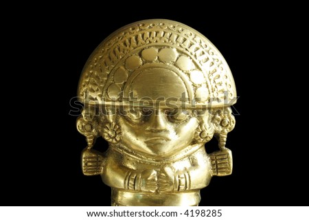 Aboriginal Peruvian deity with black background - stock photo