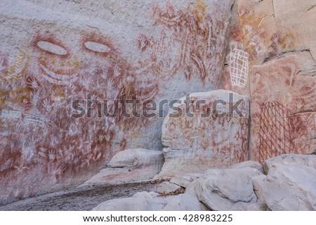 Aboriginal rock art at Carnarvon Gorge, Queensland, Australia - stock photo