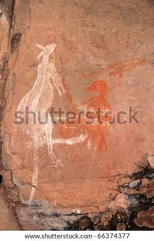 Aboriginal rock art depicting a kangaroo at Nourlangie, Kakadu National Park, Northern Territory, Australia - stock photo