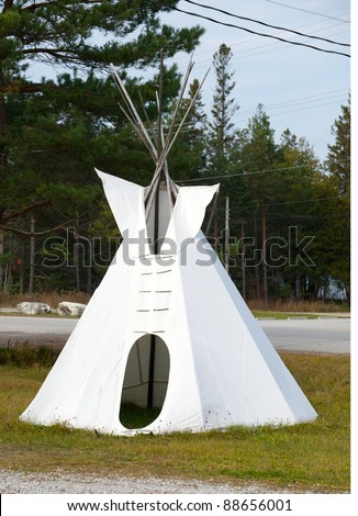 Aboriginal teepee on an Indian reservation in Canada.