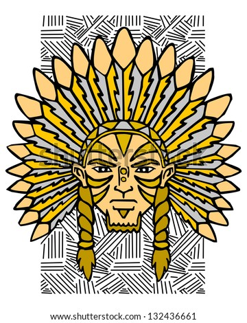 Aborigine of the America. Portrait of the Indian. This is illustration ideal for a mascot or T-shirt graphic. Raster version, vector file also included in the portfolio. - stock photo