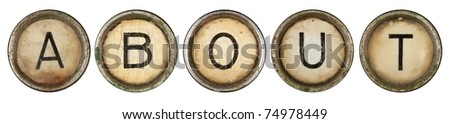 about, close up on old grunge typewriter keys - stock photo