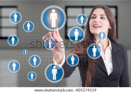 About our company or management leadership concept with business woman pressing futuristic button on transparent display - stock photo