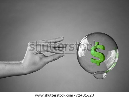 About to burst the bubble. Financial Crisis Concept. - stock photo