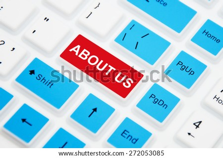 About Us Button on Computer Keyboard