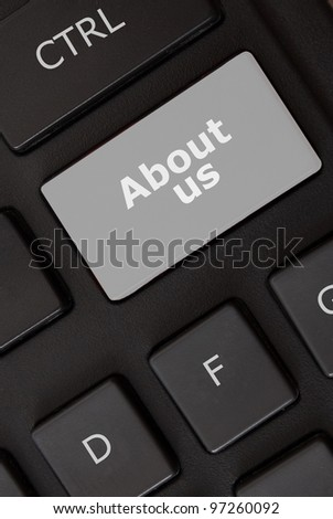 About us button on the keyboard - stock photo