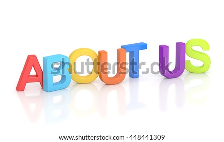 about us, colored inscription. 3D rendering isolated on white background