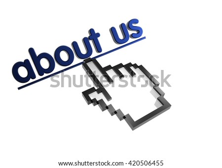 about us. 3d rendered inscription. Link and finger, pointer. Isolated on white - stock photo