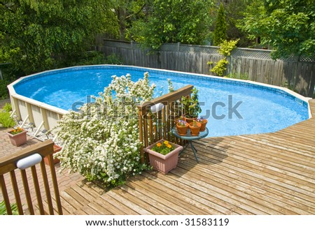 Above Ground Swimming Pool - stock photo