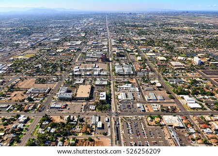 Above Main Street in Mesa, Arizona looking West towards Tempe and Phoenix, Arizona