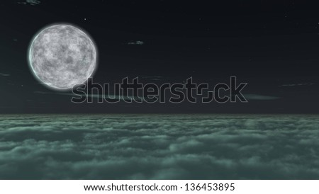 Above nightly sky with large moon , digitally rendered illustration