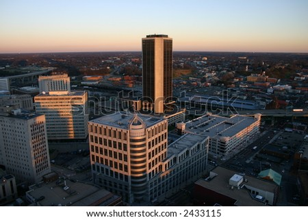 Above Richmond - View of the James Monroe Building at Sunset - stock photo