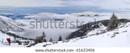 above the big winter sea - stock photo