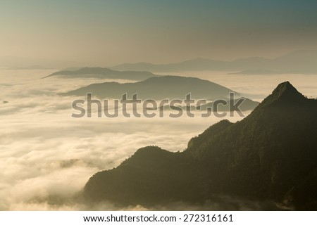 Above The Clouds Scenic Landscape at Phu Chi Fa, Thailand - stock photo