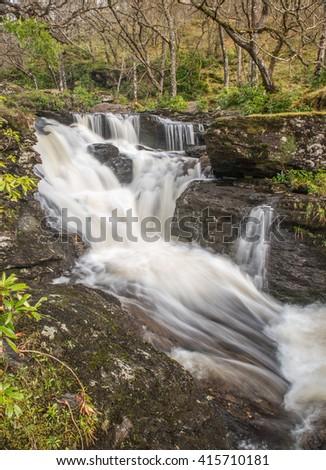 Above the main waterfalls at Inversnaid - stock photo