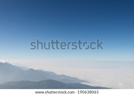 Above the mountain with fog