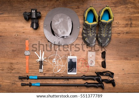 Camping gear stock images royalty free images vectors shutterstock for Travel expedition gear