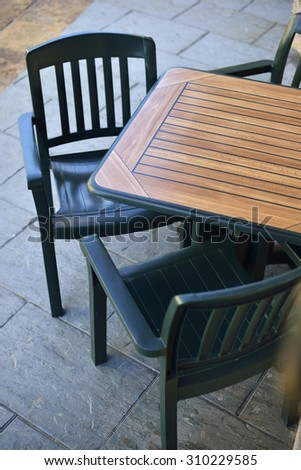 Above view of a bar terrace empty - stock photo