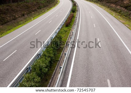 Above view of a empty highway in Portugal