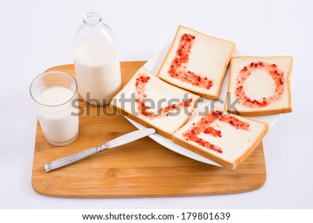 Above view of a morning breakfast done with love  - stock photo