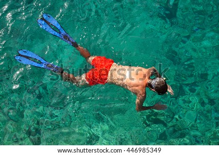Above view of a snorkeling man in the Caribbean