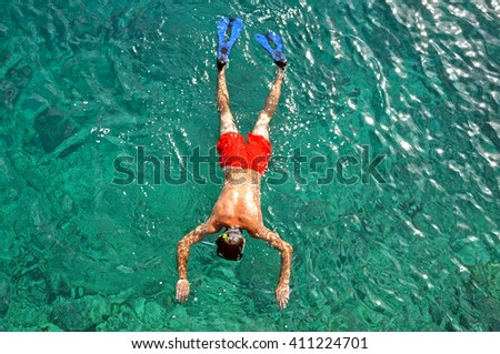 Above view of a snorkeling man in the sea