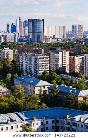above view of different buildings in Moscow city