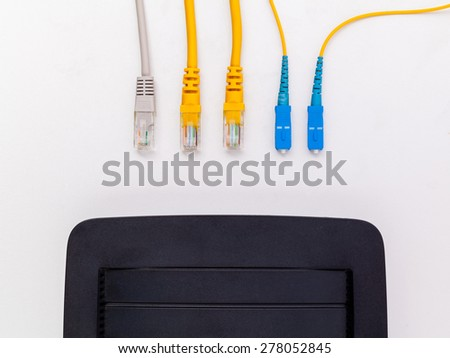 Above view of fiber optic connector with circuits board. - stock photo