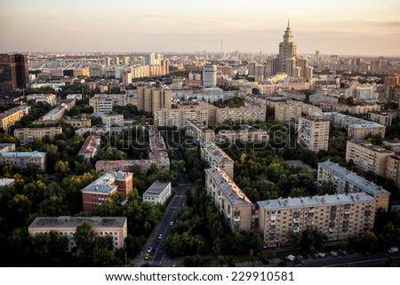 Above view of Moscow cityscape at sunset - stock photo