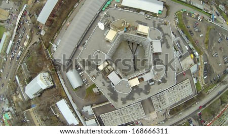 Above view of pentagon shaped building at dull day view for Pentagon shaped house plans